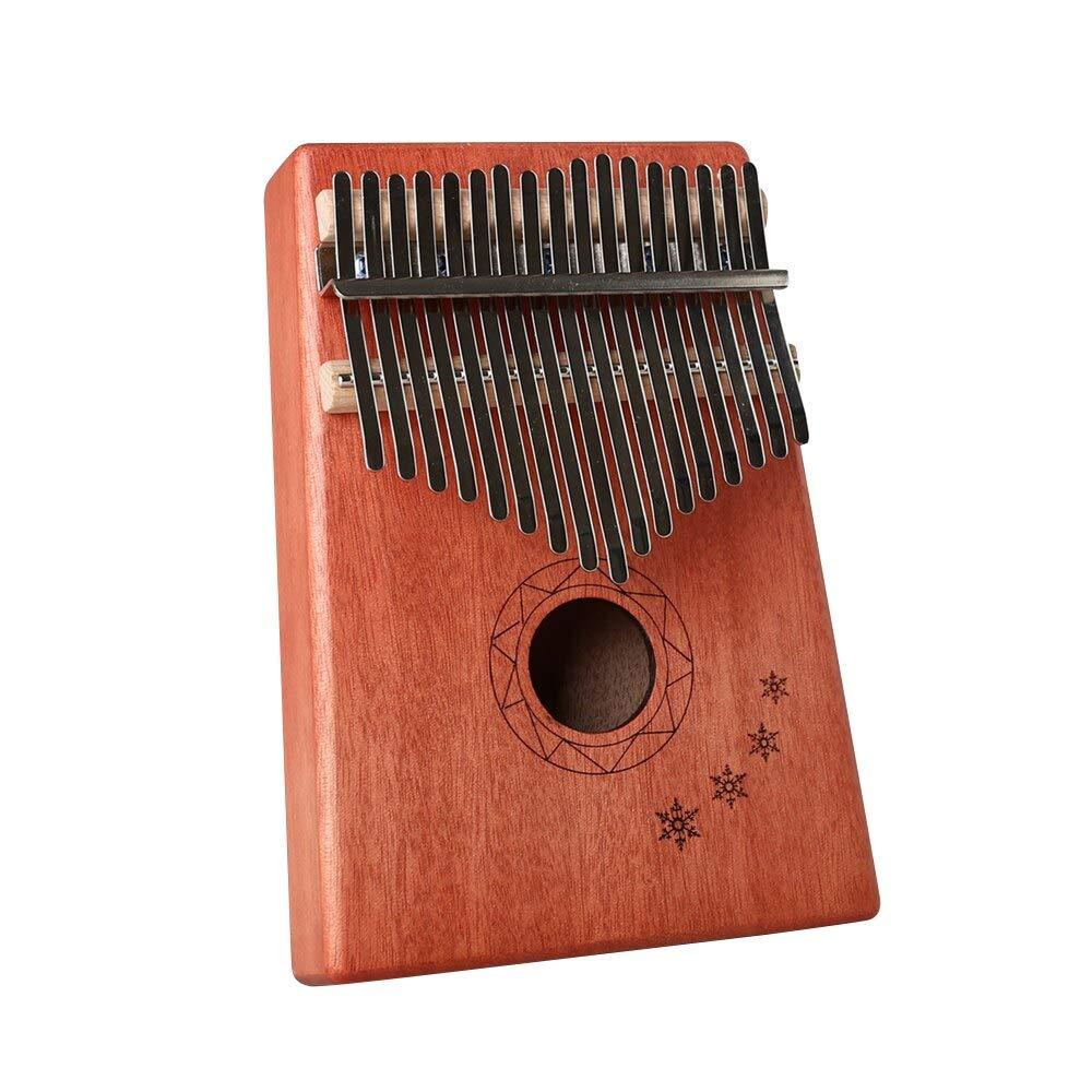 Protable 17-Tone Kalimba Mini Thumb Piano, Wood Mahogany Body Musical Instrument with Learning Book Tune Hammer