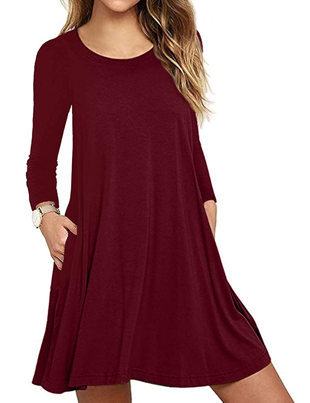 Sanifer Womens Casual Long Sleeve T Shirt Dress With Pockets Plus