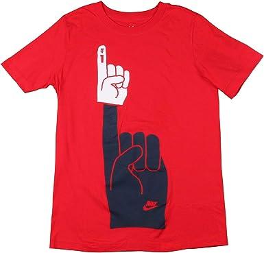 Nike BQ5990 - Camiseta de algodón con diseño de Dedos, Color Rojo - Rojo - Medium: Amazon.es: Ropa y accesorios