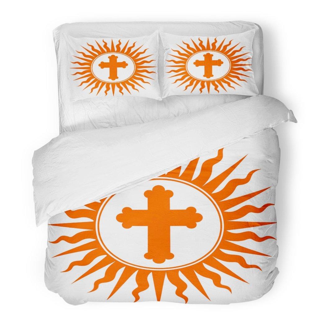 SanChic Duvet Cover Set Christian Cross Sun Rays Tribal Abstract God Decorative Bedding Set 2 Pillow Shams King Size