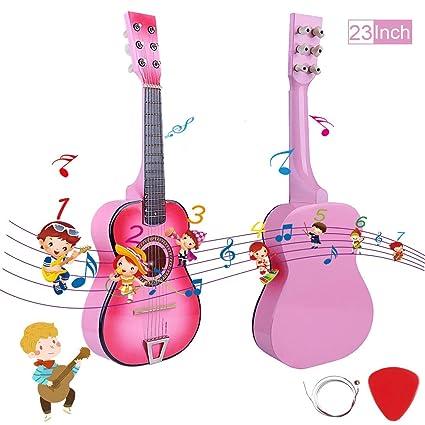 Searchyou Chitarra per Bambini in Legno Chitarra a 6 Corde Giocattolo Strumento Musicale