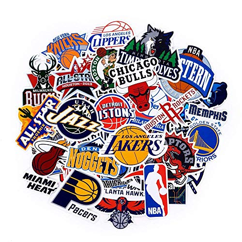 NBA Team Logo Stickers Decals 43 Pack for Water Bottle Laptop Skateboard Bicycle Motorcycle Car Bumper Luggage Travel Case, Waterproof, All Teams Collection, 30Pcs Team Logo + 13Pcs All-Star Logo (Best Sports Team Logos)