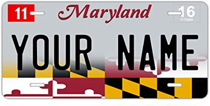 CUSTOM PERSONALIZED ALUMINUM BICYCLE MINI STATE LICENSE PLATE-MARYLAND 1990