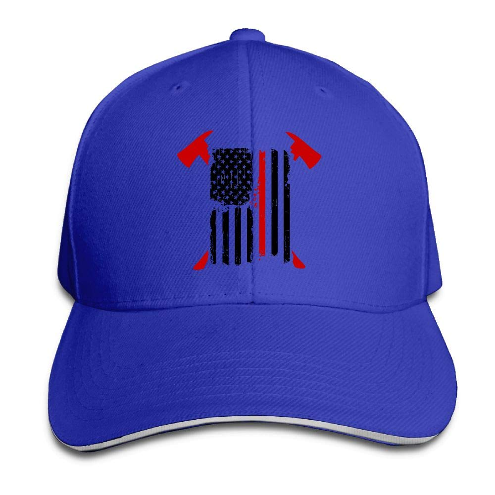 JustQbob1 Firefighter Red Line American Flag Outdoor Snapback Sandwich Cap Adjustable Baseball Hat Dad Hat