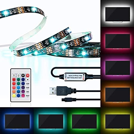 LED TV Backlight,Powered USB LED Multi-color Accent Strip Lights 6.56Ft for HDTV Bias Lighting 24keys Romote Control RGB Lighting Reduce Eye Strain and Increase Image Clarity