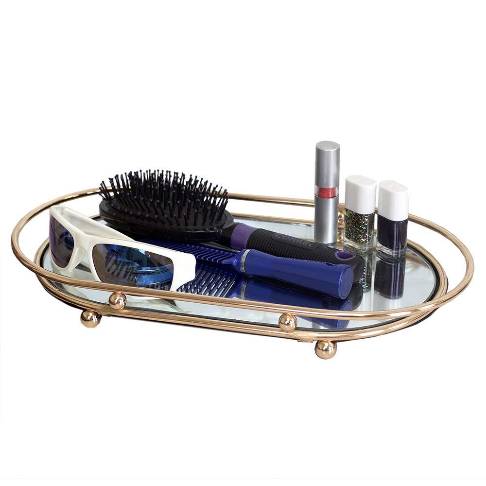 Home Basics Luxury Mirror Vanity Tray Decorative Glass Makeup Jewelry Perfume Holder Vanity Tray Organizer for Dresser, Dressing Table, Vanity, Bathroom & Bedroom, Gold
