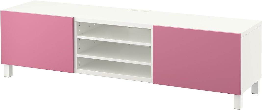 IKEA BESTA - Mueble TV con cajones blanco / rosa lappviken: Amazon.es: Hogar