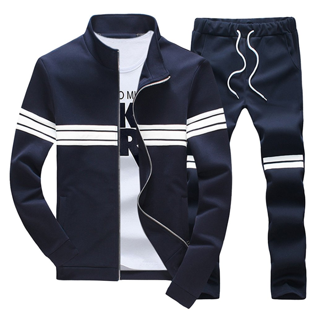 Modern Fantasy Men's Winter Tracksuit Striped Style Joggers Sports Warm Sweatshirt Blue M