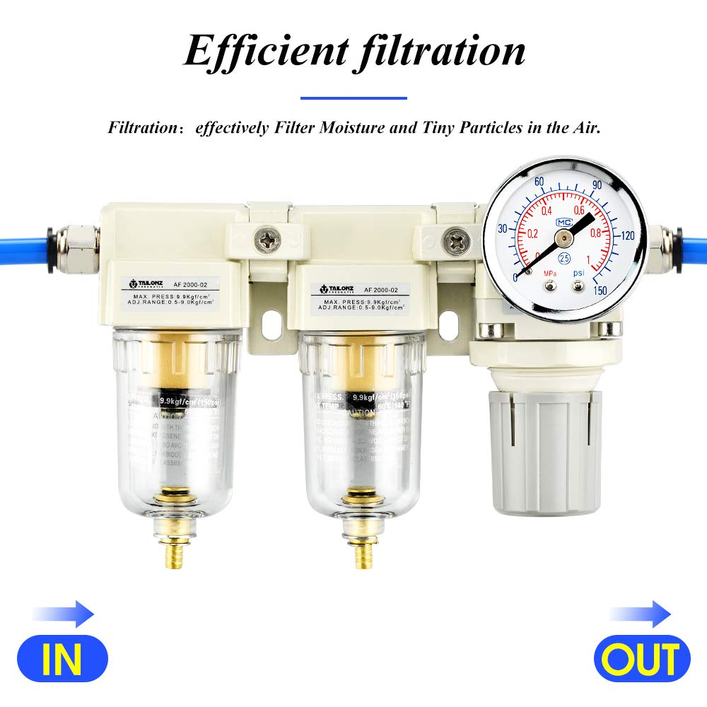 Tailonz Pneumatic 3//8 Inch NPT 2 in 1 Air Filter Pressure Regulator Combo Piggyback Air Tool Compressor Filter with Gauge AF3000+AR3000