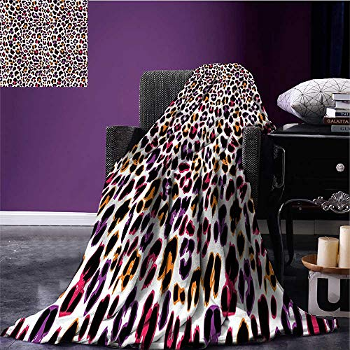 sunsunshine African Printing Blanket Leopard Skin Motif with Abstract Safari Animal Camouflage Pattern Fleece Blanket Throw Magenta Violet Marigold Bed or Couch 62