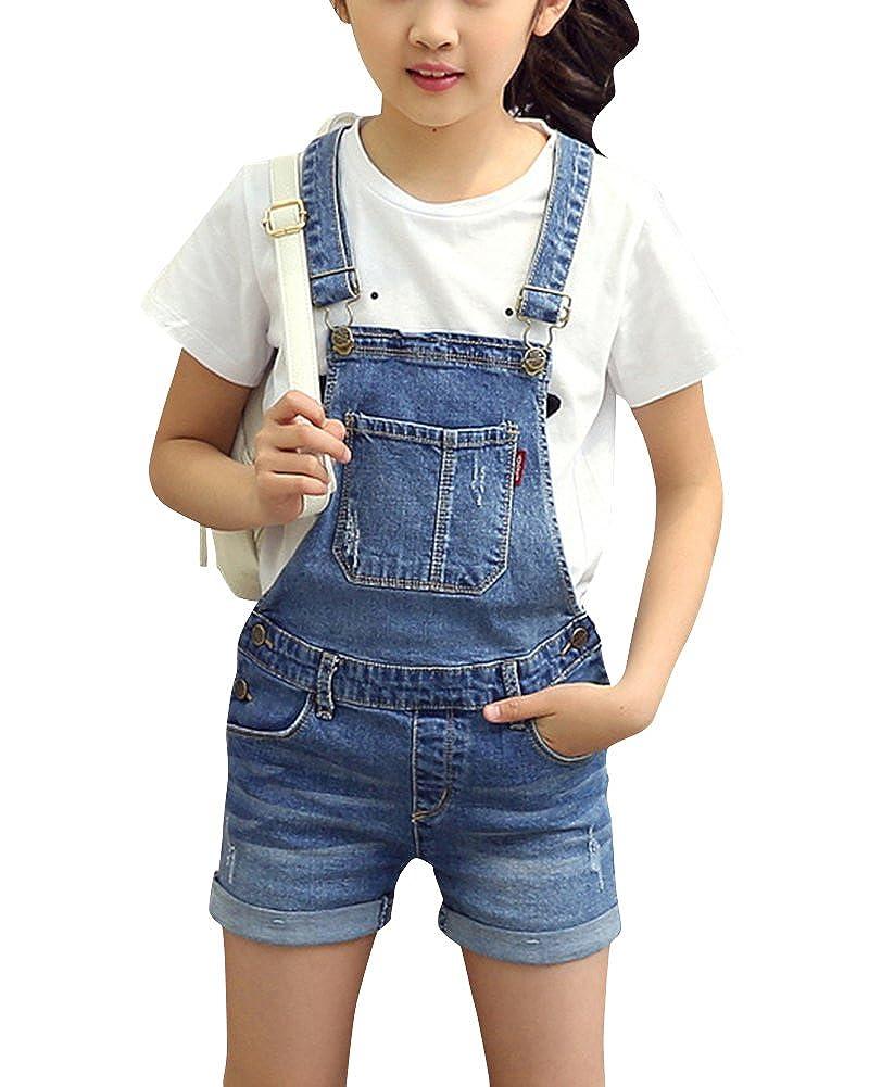 ZiXing Bambine Salopette Corta Jeans Ragazze Salopette Pantaloncini Denim Jeans Shorts Overall Jumpsuit Monopezzi