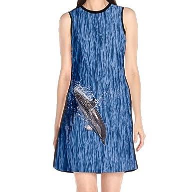 9b9f739e5f Dolphin Sea Women s Lady Sleeveless Mini Dress Print Party Dress Tank Dress