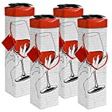 GIFT BOX WINE,Medoc Toast Wine Box Set of 4pcs , EZ Wine Caddy. Easy to Assemble and No Glue Required.