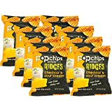 Popchips Ridges Cheddar and Sour Cream Popped Chips, 0.8 Oz (Pack of 8)
