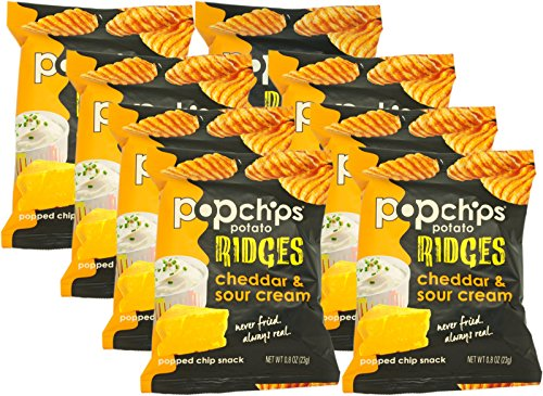 Price comparison product image Popchips Ridges Cheddar and Sour Cream Popped Chips,  0.8 Oz (Pack of 8)