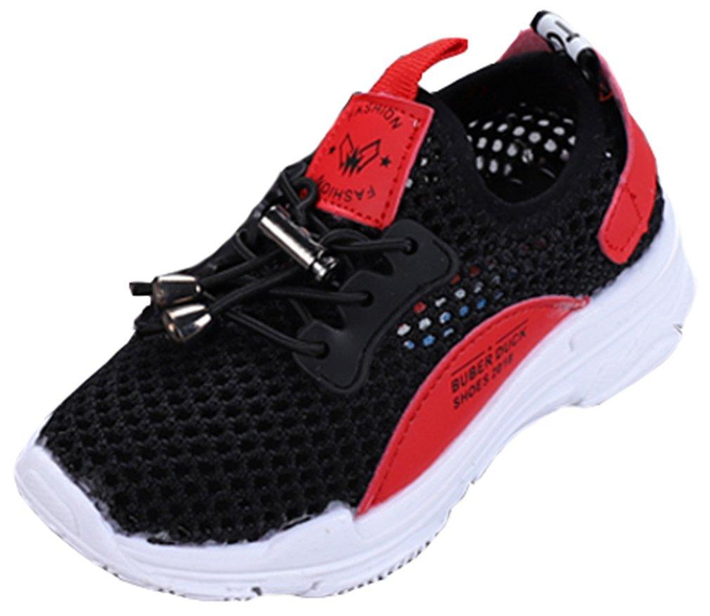 VECJUNIA Boy's Girl's Fashion Sneakers Mesh Slip-On Breathable Summer Running (Black, 11 M US Little Kid)