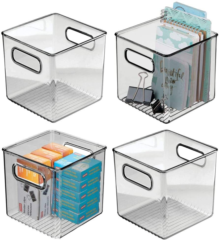 "mDesign Plastic Home Office Storage Organizer Container with Handles - for Cabinets, Drawers, Desks, Workspace - Holds Pens, Pencils, Highlighters, Notebooks - 6"" Cube, 4 Pack - Smoke Gray"