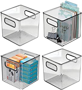 """mDesign Plastic Home Office Storage Organizer Container with Handles - for Cabinets, Drawers, Desks, Workspace - Holds Pens, Pencils, Highlighters, Notebooks - 6"""" Cube, 4 Pack - Smoke Gray"""