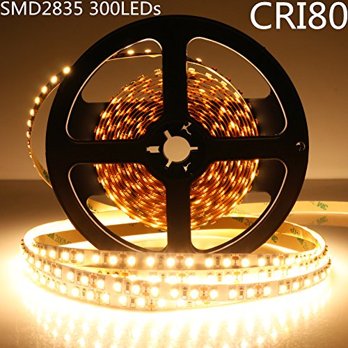 LightingWill LED Strip Kit CRI80 SMD2835 16.4Ft(5M) 300LEDs Warm White 3000K-3500K 60LEDs/M DC12V 60W 12W/M 8mm White PCB Flexible Ribbon Strip with Adhesive Tape Non-Waterproof M2835WW300N by LightingWill