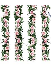 FAMI 4PCS(28.8 FT,16 Flowers) Artificial Rose Vines Fake Silk Flowers Rose Garlands Hanging Rose Ivy Plants for Wedding Home Office Arch Arrangement Decoration