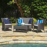 Great Deal Furniture Olivera Outdoor 4-Piece Grey Wicker Chat Set with Cushions