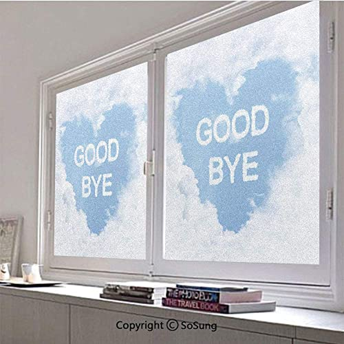 30×48 inch Decorative Static Cling Frosted Privacy Window Film,Good Bye in Cloud Form and Heart Shape in Clear Blue Sky Glass Film for Window Glass Panels,UV Protection,Energy Saving