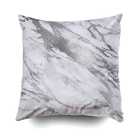 FbaPan - Cojines de mármol monocromático Color Blanco y Gris ...