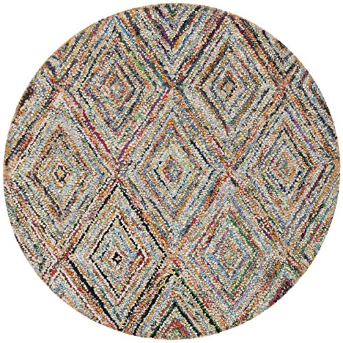 Rug Round Nantucket (Safavieh Nantucket Collection NAN314A Handmade Abstract Geometric Diamond Multicolored Cotton Round Area Rug (4' Diameter))
