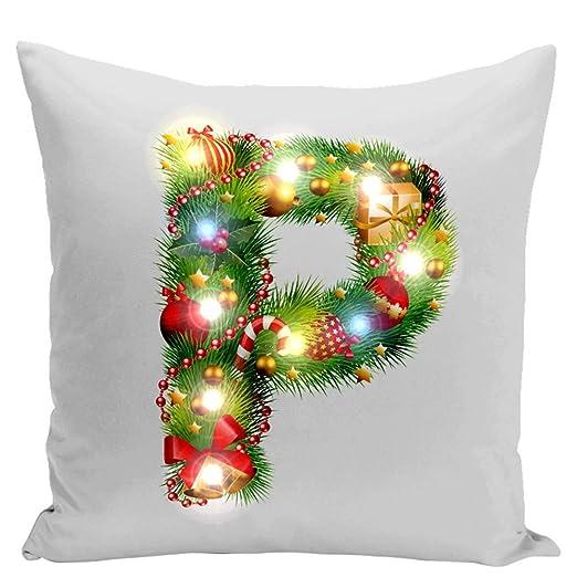 Connoworld - Funda de cojín con luz LED de Navidad, diseño ...