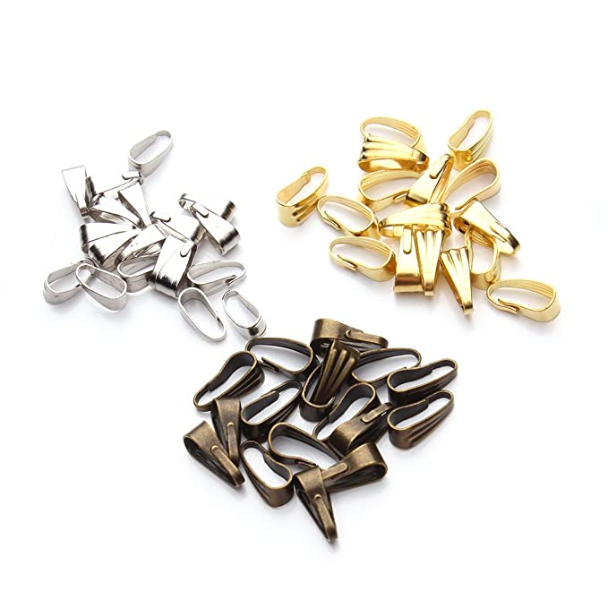 Linsoir Beads Pinch Clip Clasp Bail Metal Finish Necklace Clasps Pendant Clasps 200pcs//lot 3mmX7mm Silver Plated