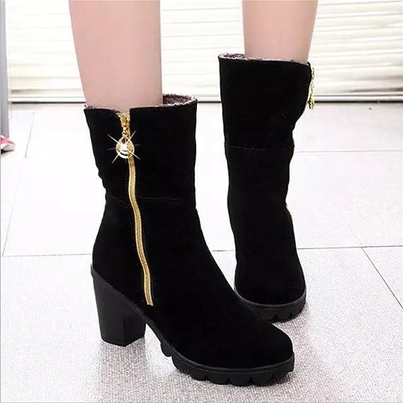 QPYC Damen hohe Schuhe Fersen Stiefel Side Pull Kette im Zylinder Stiefel zwei Verschleiß rutschfeste rau mit Plattform Damenschuhe , red cotton , 37