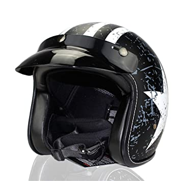 HOEMKUY Casco Jet Vintage Hemetretro Scooter MezzCasco Retrro Casco Casco Open Dot Black and White M