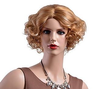 A Monamour Frauen Retro Frisur Goldene Blondine Kurze Lockige