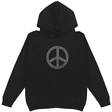 3662e905f2967 Peace Sign Clear Stone Women s Pullover Hoodie Plus Size Unisex (Small)
