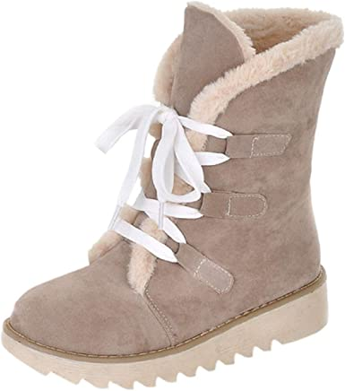 Tsmile Women's Fur Lined Boots Winter