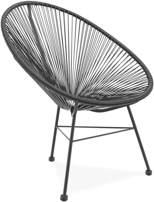 Acapulco silla negro Sillón metálico cuerdas negras para jardín, terraza, balcón, terrado, exterior, hostelería. 1 unidad