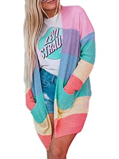 6581e645395026 Shele Womens Cardigan Sweaters Oversized Rainbow Open Front Striped Knit  Tops Pockets
