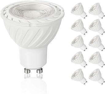 SSendless Bombilla LED GU10, bombillas de foco 7W (lámpara halógena equivalente a 70W), ángulo de haz de 60 grados,6000K, 570LM, paquete de 10 (Luz fresca): Amazon.es: Iluminación