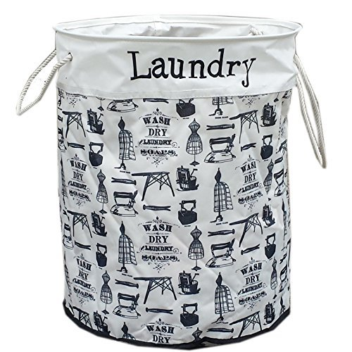 Stylish Black / White Round Wash'N'Dry Printed Collapsible Laundry Storage Hamper by FunkyBuys