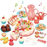Cutting Birthday Cake Toys,Pretend Play for Kids,Light and Music 82Pcs DIY Pretend Cake Set with Candles,Dessert,Dount…