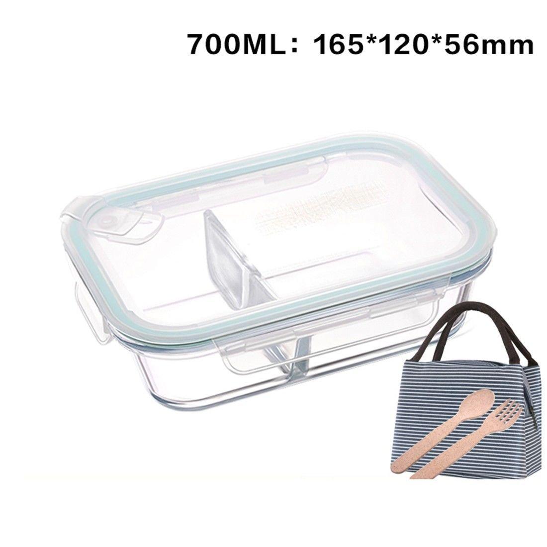 ZLLi Recipiente de vidrio, caja de almuerzo, horno de microondas ...