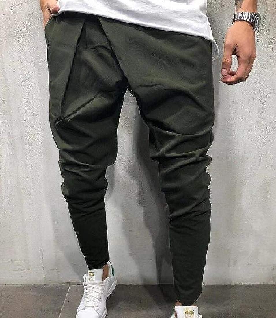 BYWX Men Casual Drawstring Waist Hip Hop Solid Color Ninth Baggy Harem Pants