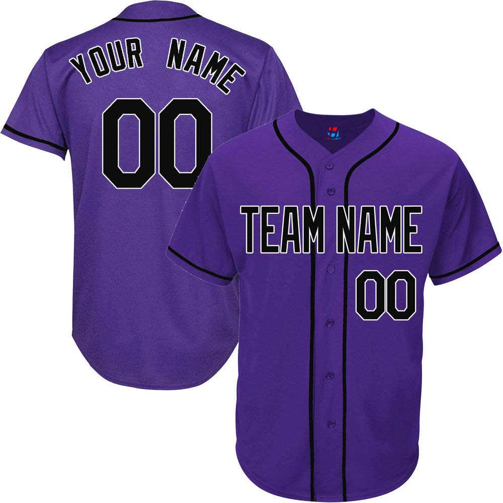 Purple Customized Baseball Jersey for Men Throwback Embroidered Team Player Name & Numbers,Black-White Size 2XL by Pullonsy