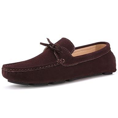 Bridfa Hombre Mocasines Hombre Casual Zapatos de piel de gamuza Azul marino Slip On Shoes Mocasines para hombre Homme: Amazon.es: Ropa y accesorios