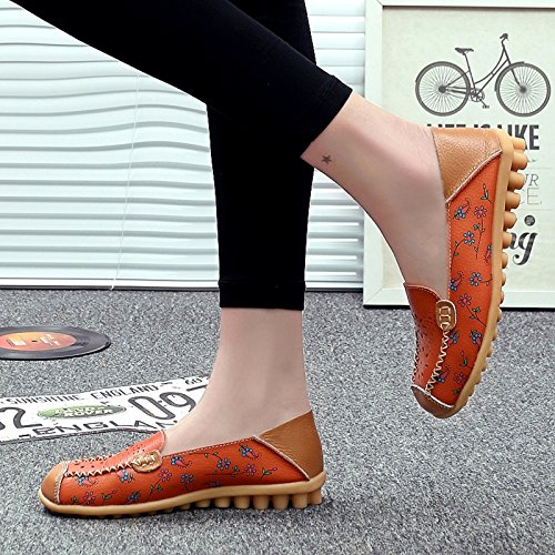 VenusCelia Frauen Floraler Komfort Walking Flat Loafer Orange / Mandarine (hohl)