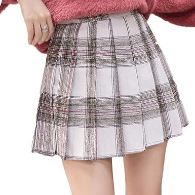 YXYP Falda Mujer Plisada Falda Corto Falda Elástica Falda Cuadros ...