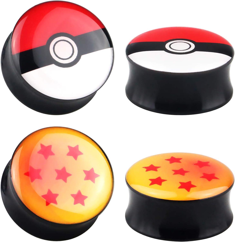 Pair Acrylic Ear Plugs Screw Fit Gauges Tunnels Earrings Pokemon PokeBall Logo