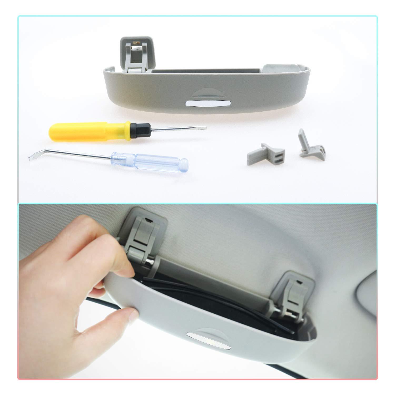 Negro CDEFG Auto Coche Gafas Caja Organizador Gafas de Sol Soporte Almacenamiento Bolsillos para VW T-ROC