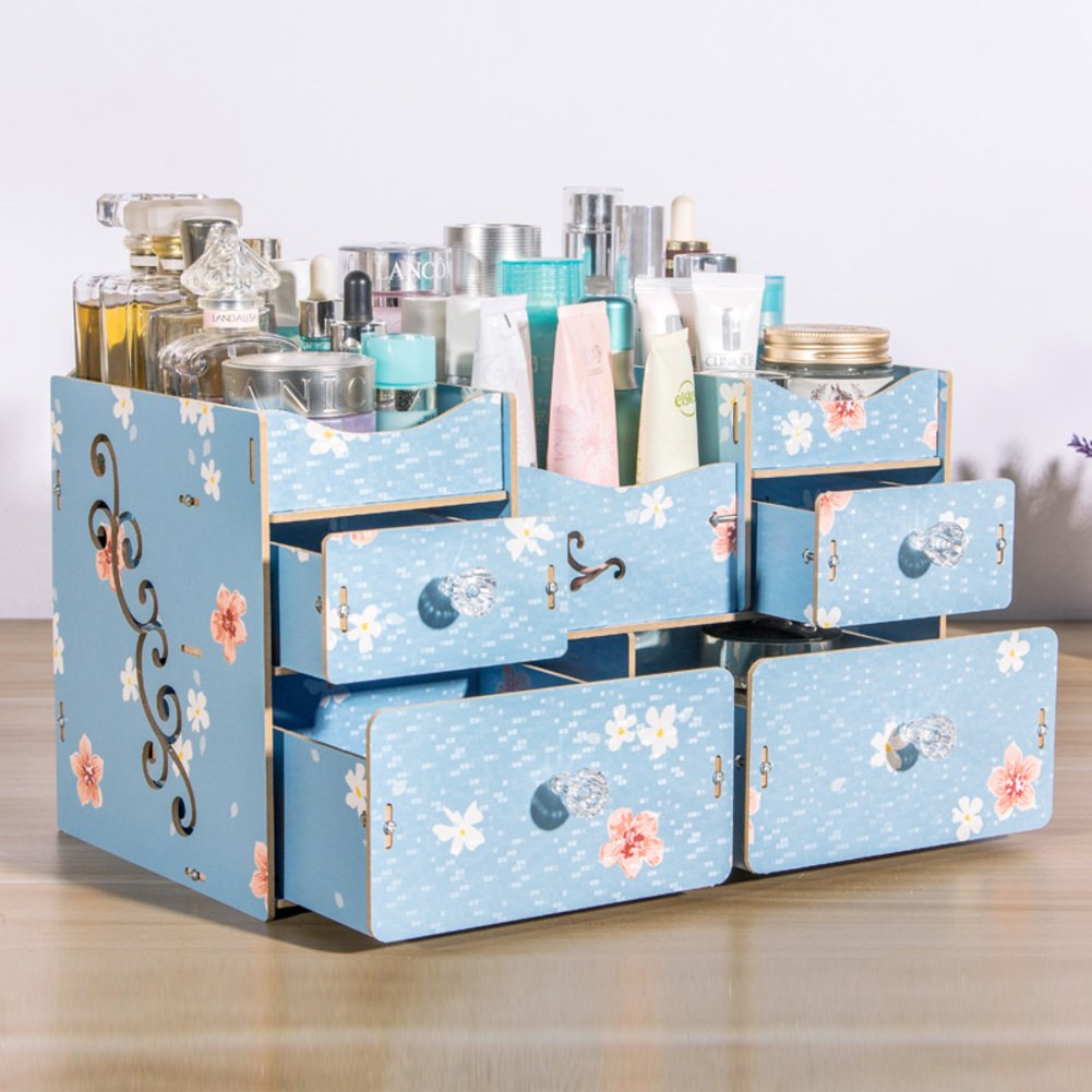 Rart DIY Makeup Storage Box, Wooden Multi-Layer Drawer Storage case Large Capacity Jewellery Box-Keeping Your Dressing Table More Tidy-B 34.5x18.5x21.5cm(14x7x8inch)