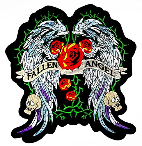 Diy Fallen Angel Costume (MNC patch Big Patch FALLEN ANGEL Wings Red Rose Lady Rider Biker Patch Logo iron on sew on patch Sign Badge Symbol Patch Iron on Applique Embroidered Jacket T shirt Costume)